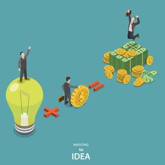 Investire nel concetto di vettore piatto isometrico idea.