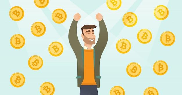 Investitore di successo in piedi sotto pioggia bitcoin.