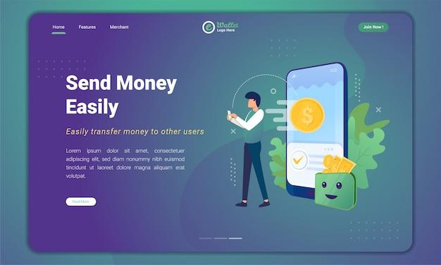 Invia denaro facilmente all'applicazione portafoglio digitale sul modello della pagina di destinazione