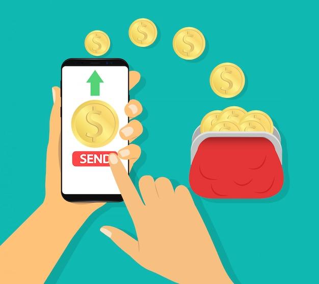 Invia denaro nel portafoglio. pagamento mobile, transazioni finanziarie.