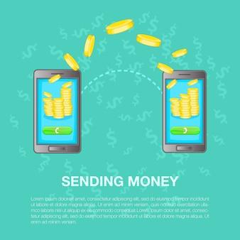 Invio di denaro concetto, stile cartoon