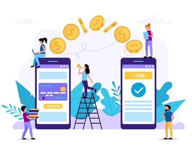 Invio di denaro tramite smartphone. applicazione di pagamento. piccole persone che svolgono vari compiti