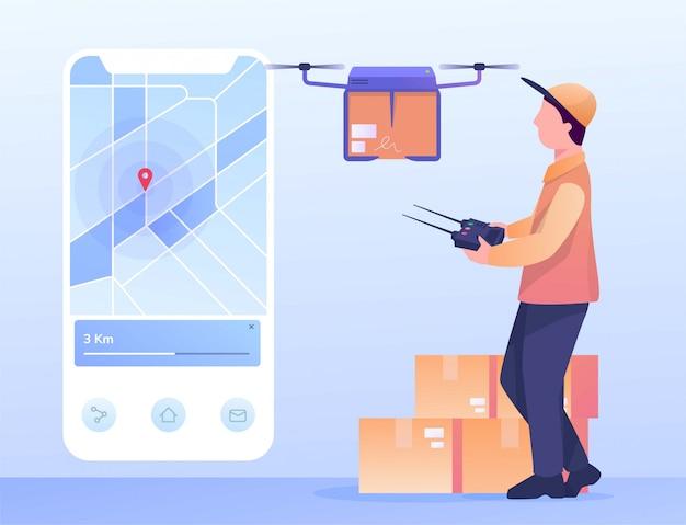 Invio di pacchetti con app mobili drone