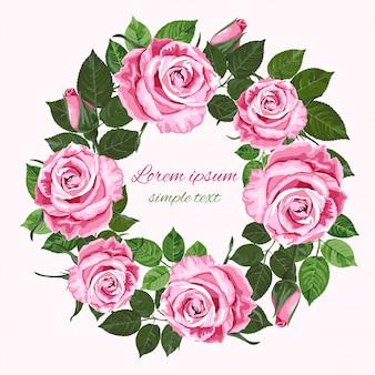 Inviti di nozze con corona di rose rosa sul bianco