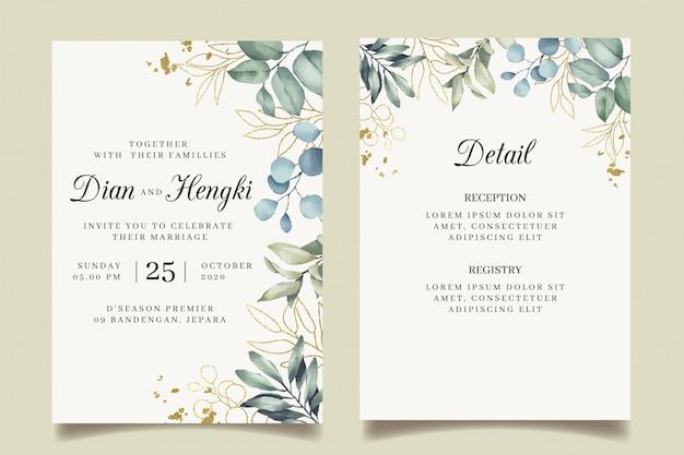 Inviti di nozze d'oro di belle foglie con schizzi d'oro