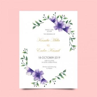 Inviti di nozze fiori colori stile viola acquerello