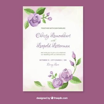 Invito a nozze acquerello con fiori viola