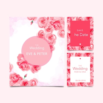 Invito a nozze acquerello con fiori