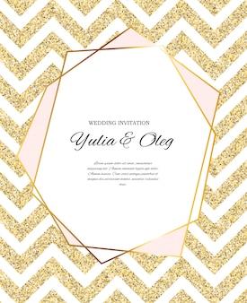 Invito a nozze beautifil con glitter dorato
