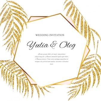Invito a nozze beautifil con silhouette foglia di palma