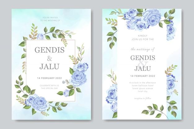 Invito a nozze bella cornice con fiore floreale blu