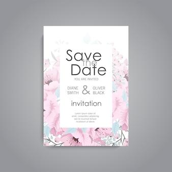 Invito a nozze. bellissimi fiori biglietto d'auguri. telaio.