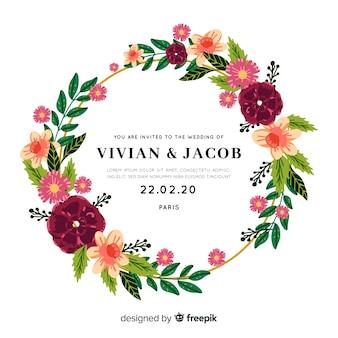 Invito a nozze bellissimo con cornice floreale