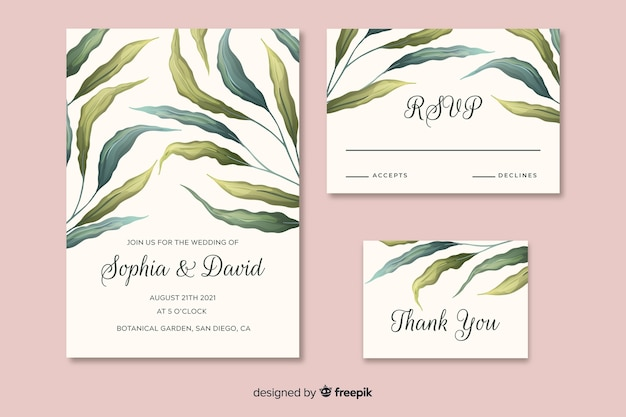 Invito a nozze bellissimo con foglie disegnate a mano