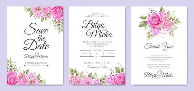 Invito a nozze bellissimo con foglie floreali