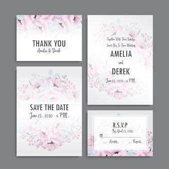 Invito a nozze, biglietto di ringraziamento, salva la data card.