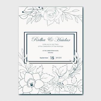 Invito a nozze botanico disegnato a mano