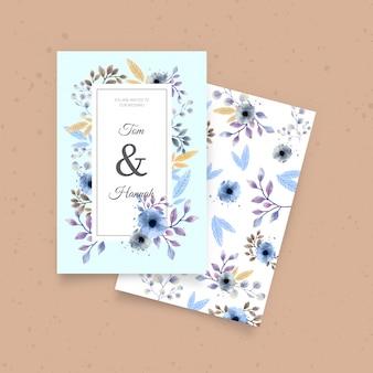 Invito a nozze carino con fiori ad acquerelli