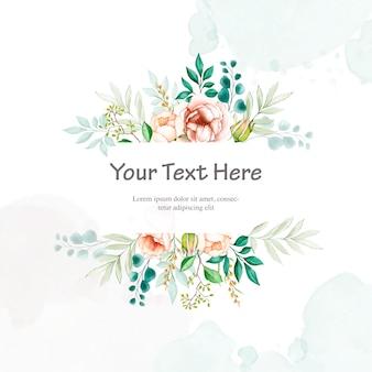 Invito a nozze colorato con cornice floreale dell'acquerello