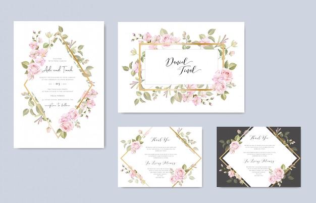 Invito a nozze con bellissimi fiori e foglie
