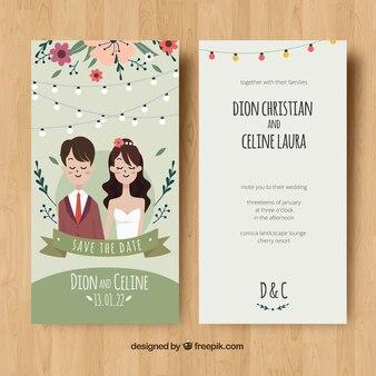 Invito a nozze con coppia e fiori