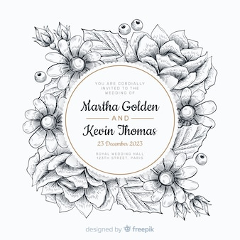 Invito a nozze con cornice floreale disegnata a mano