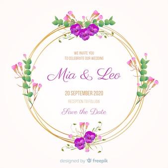 Invito a nozze con cornice floreale dorata