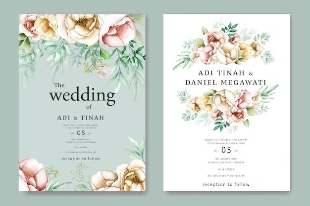 Invito a nozze con deliziosi fiori ad acquerelli