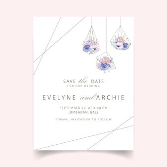 Invito a nozze con fiore anemone e succulente
