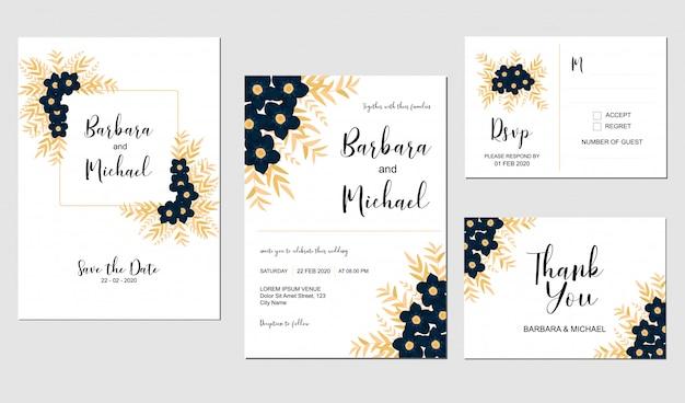 Invito a nozze con fiore di indaco e foglia dorata