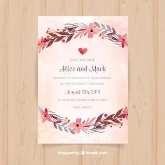 Invito a nozze con fiori ad acquerelli