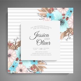 Invito a nozze con fiori colorati.