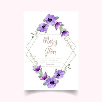 Invito a nozze con fiori di anemone floreale