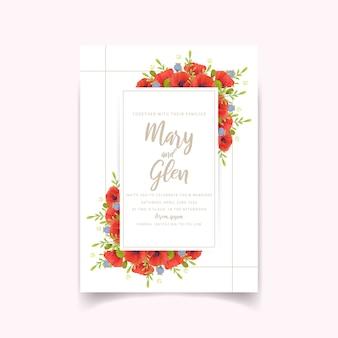 Invito a nozze con fiori di papavero rossi floreali