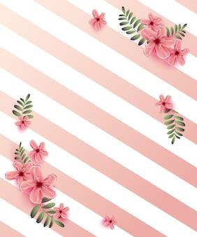 Invito a nozze con fiori di primavera su sfondo rosa.