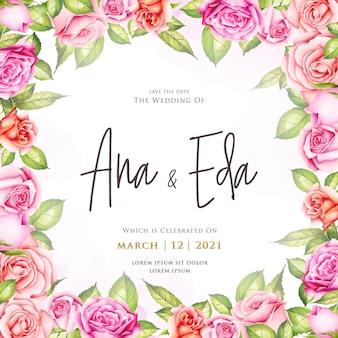 Invito a nozze con fiori di rosa dell'acquerello