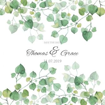 Invito a nozze con foglie di acquerello