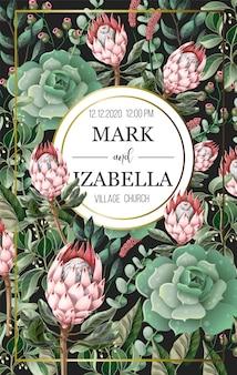 Invito a nozze con foglie, fiori di protea, elementi succulenti e dorati in stile acquerello.