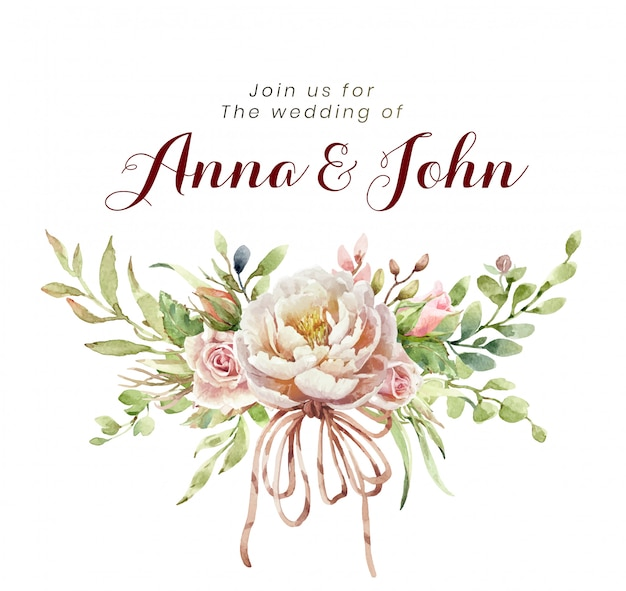 Invito a nozze con i fiori di rosa del mazzo dell'acquerello