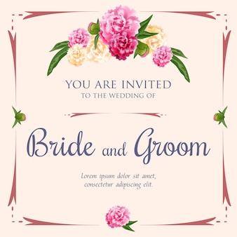Invito a nozze con peonie e cornice su sfondo rosa.