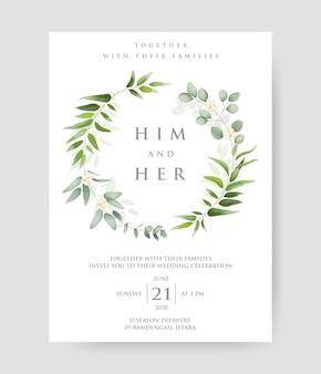 Invito a nozze con rami decorativi di eucalipto e motivo a cornice