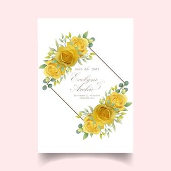 Invito a nozze con rosa gialla floreale