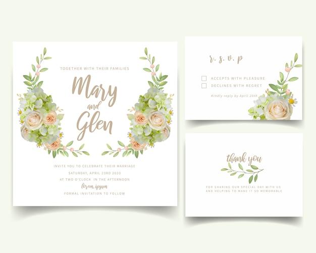 Invito a nozze con rose floreali e ortensie