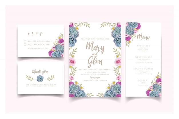 Invito a nozze con rose floreali e succulente