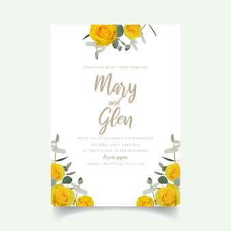 Invito a nozze con rose gialle floreali