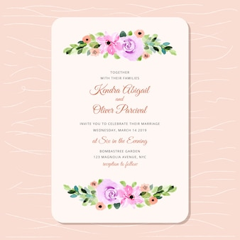 Invito a nozze con un bellissimo acquerello floreale
