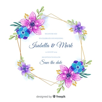 Invito a nozze cornice floreale colorato in stile acquerello