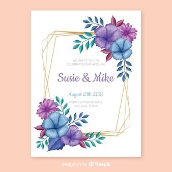 Invito a nozze cornice floreale dipinta a mano
