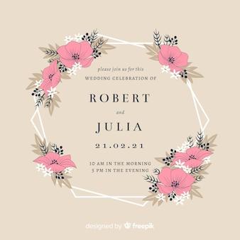 Invito a nozze cornice floreale