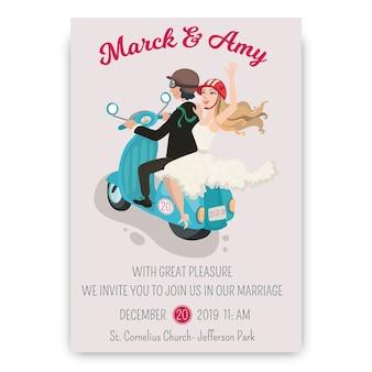 Invito a nozze disegnati a mano con lo sposo e la sposa